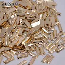 JUNAO 7*21mm Gold Color Sewing Flatback Crystal Rhinestone Sew On Strass Crystals Stones Rectangular Acrylic Beads For Clothes