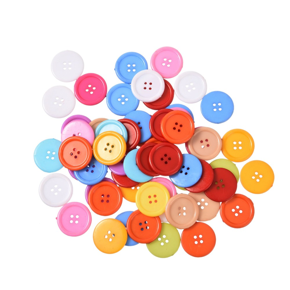 50pcs/lot Round 4 Holes Resin Button Fit Sewing Scrapbook 30 mm Buttons random colors sewing Accessories clothes