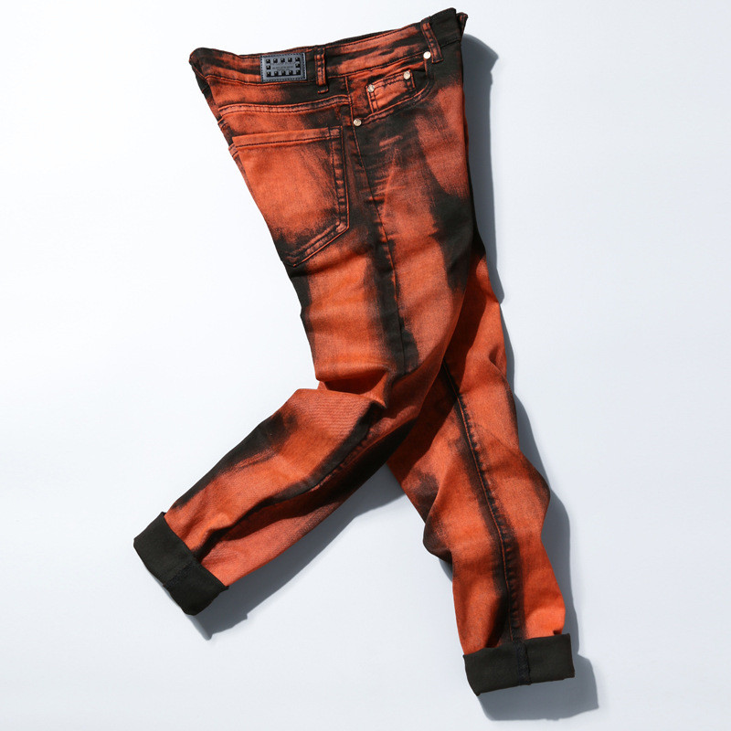 New Rock Men Jeans Orange Black Print Pants Casual Slim Fit Stretch Denim Hip Hop Rap Skinny Pencil Trousers Designer PantsÎäåæäà è àêñåññóàðû<br><br>