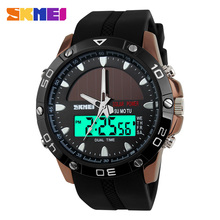 2017 SKMEI Men's Solar Energy Quartz Digital Watch Men Sports Watches LED Display Outdoor Military Waterproof Wristwatches Clock(China)