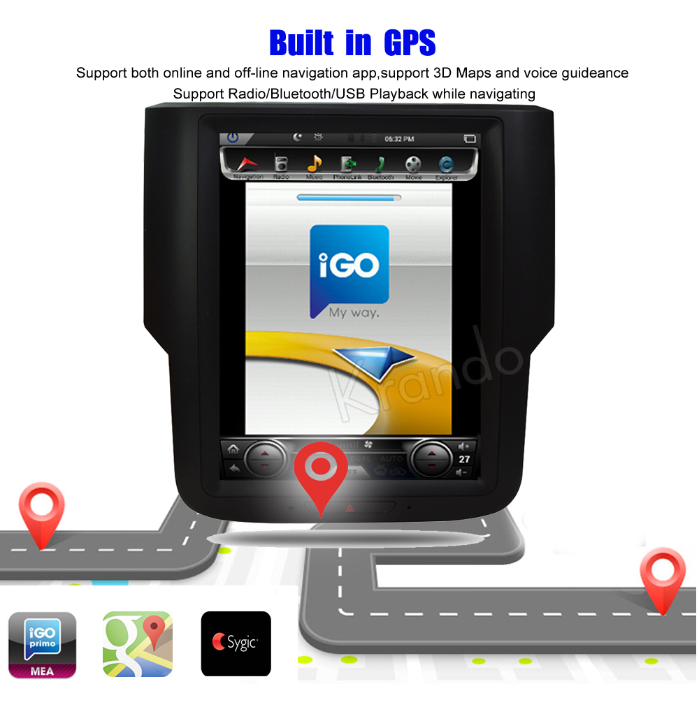 Krando Vertical screen android car radio multimedia for dodge RAM screen navigation with gps system (1)