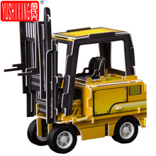 3D Paper jigsaw puzzles for children kids toys educational toy mini engineering vehicle forklift Excavator