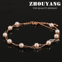 Top Quality ZYA028 Imitation Pearl Rose Gold Color Anklets Jewelry Austrian Crystals Wholesale