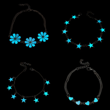 2017 New Fluorescent Luminous Flower Star Heart Charm Bracelets For Women Lover Bangles Party Fashion Glow In Dark Jewelry Gift(China)