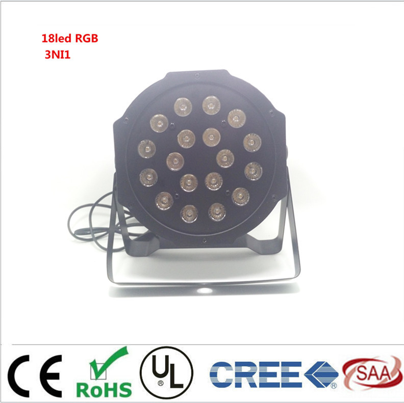 LED Flat  Par 3in1 rgb 18leds 4W  18 LED RGB Color Mixing  LED DJ Wash Light Stage Uplighting KTV Disco DJ DMX512<br>