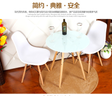 3pieces /set PP Plastic Dining Chairs with Beech Wood Legs Original Design Side Chairs and glass table