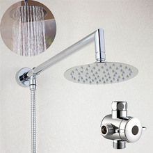 Bathroom 6 or 8 inch Round Rain Shower Head with Brass Shower Arm  Shower Hose Bottom Entry & 3 Way Diverter 03-005