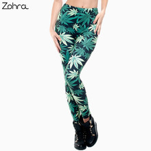 Zohra Women Clothing Ladies Legins Full Length Weeds 3D Graphic Printing Legging Sexy Punk Pants Leggings(China)