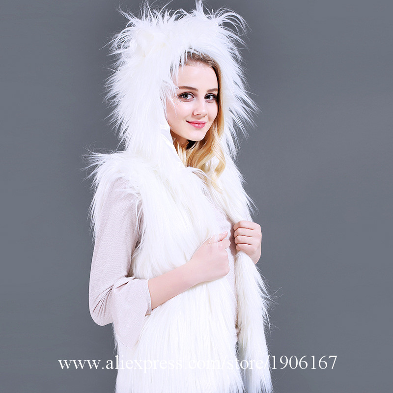 LED Vest Glowing Hooded Fur Vest Night Club Dance Performance Glowing Clothes Music Festival Clothing3
