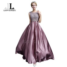 LOVONEY 2017 Elegant A-Line Backless Satin Appliques Long Evening Dress Formal Dress Evening Party Gown Robe De Soiree S306