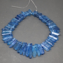 Approx 50pcs/strand Raw Royal Blue Quartz Crystal Point Pendant Rough Top Drilled Spike Gem Beads Crystal Necklace