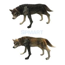 2 Pieces 1/6 Scale Wolf Figure Model Statue Figurine for 12'' Action Figures Display Accessories