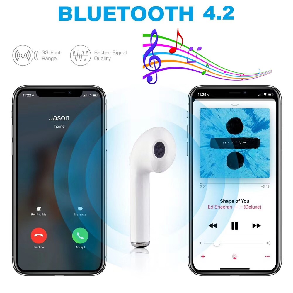 YODELI Airpods Bluetooth Earphone I7S TWS Twins Wireless Headphones Bass Headset With Microphone For iPhone 6 7 8 S Xiaomi Phone (3)