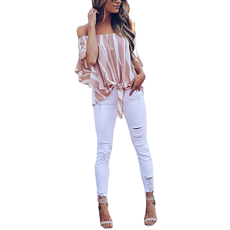 LOSSKY Women's Striped Chiffon Shirts Blouse Sexy Off Shoulders Bandage Women Casual Blusas Shirt 2018 Summer Loose Elegant Tops 18