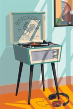 Old Phonograph Music Player Holiday Vintage Retro Kraft Poster Decorative DIY Wall Sticker Home Bar Art Posters Decoration Gift