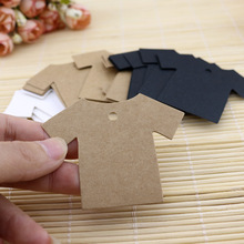 100Pcs T-shirt Shaped Blank Kraft Paper Baking Price Hang Tag DIY Wedding Party Gift Wish Card Bookmarks Decor Tag(China)