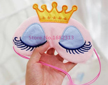 Lovely Pink/Blue Crown Sleeping Mask Eyeshade Eye Cover Travel Cartoon Long Eyelashes Blindfold Gift For Women Girls lesgas