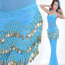 Dancing Costume 3 Row Coin Chain Belly Dance Hip Skirt Scarf Wrap Belt Waistband(China)