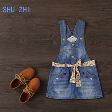 SHUZHI Baby Girl Sundress Kids Denim Straps Dresses For Girl Flower Mini Sundress Kids All-match Dress