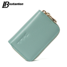 BOSTANTEN Mini Genuine Leather Wallet Bank/Name Card Holder Double Zipper Credit Card Holders Women Men ID Card Case Purses Bag(China)