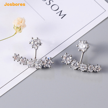 Luxury Brand High Quality CZ Crystal Ear Jacket Stud Earrings for Women Silver Color Shape Ear Cuff Earring Fashion Jewelry(China)