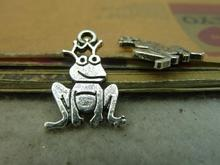 30Pcs 12*22mm Antique Silver Frog Prince Charm Pendant Jewlery Making