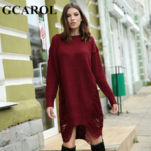 GCAROL New Arrival Fashion Ripped Knitwear Women Long Sweater Dress Oversized Asymmetric Autumn Winter Knitted Dress