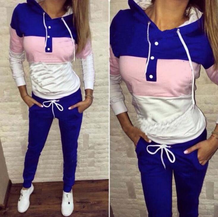 2016 Hot Sale Pullover Two Piece Sets Hoodies Tracksuit Long Pant Running Set Plus Size Outdoors Sexy Sport Suits<br><br>Aliexpress