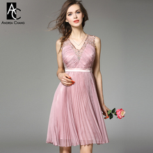 runway designer womans dress cocktail party event dress lavender red pink blue pleated dress beading collar high quality dress
