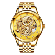 New luxury Anniversary edition gold table 3D China Dragon mechanical diamond watch waterproof men watch Stainless steel band