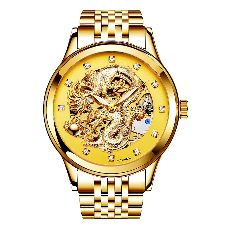 Luxury Anniversary edition gold table 3D China Dragon mechanical diamond Men watch waterproof relogio masculino Stainless steel<br>