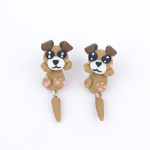 New Handmade Polymer Clay Cartoon Khaki Dog Animal Stud Earrings Can Separate bijoux Piercing brincos Jewelry 3191