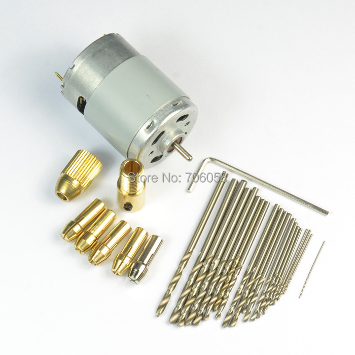 30pcs Drill with Small 1pcs Motor with 4pcs Brace jaws ,Small PCB Drill Press Drilling with 0.5mm~2.5mm Drill 12V<br><br>Aliexpress
