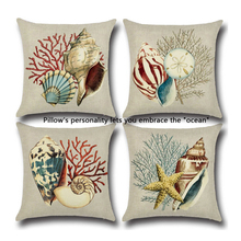 Retro Style Marine Biology Cushion Cover Sea Conch Shell House Pillow Case Linen Cotton Pillows Covers 43*43cm ZQ881910