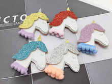 50ps/lot latest Girls Dimensional unicorn South Korea pop princess kids DIY material without clip Children Hair Accessories(China)