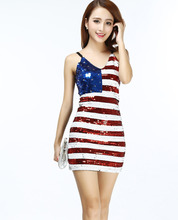 Ladies Vertical American USA Flag Club Bodycon Body  Club Cocktail Fancy  Party Dress Costume