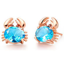 Elegant Zircon 925 Sterling Silver Wedding Jewelry Crab Shape Stud Earrings For Women Free Shipping&Gift Bag SCR695(China)
