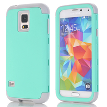 3-in-1 Phone Cases For Samsung Galaxy S5 i9600 Hard &Soft Rubber Hybrid Armor Case Cover w/Screen Protector Film+Stylus Pen