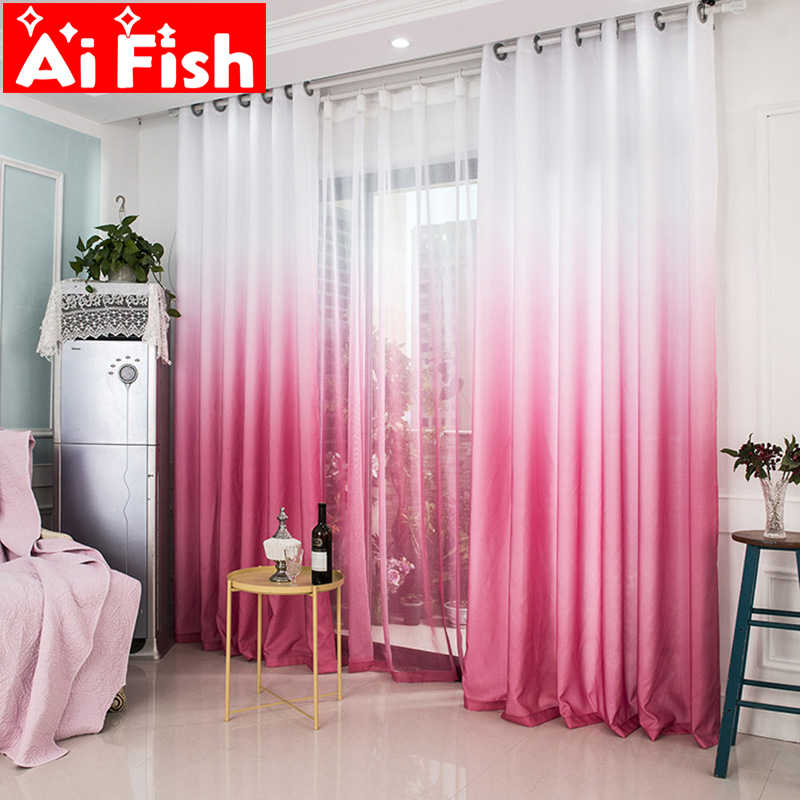 New Arrival Rose Red Gradient Thermal Insulation Cloth Curtains For Living Room Modern Tulle For Bedroom Windows Panels M185-30