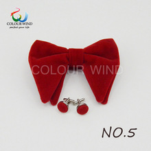 Design Men's Solid Micro Suede Bow Ties Set Women Big Butterfly Cuff-link Soft Black Red Bowtie For Groom Male Wedding Party(China)