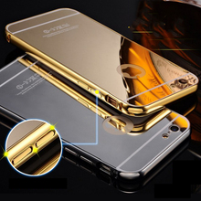 Luxury Hybrid Mirror Aluminum Frame + PC Cover For iphone 7 Plus SE 5 5s 6s Huawei Samsung S6 S7 Edge P8 P9 Lite Phone Cases