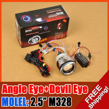 "hot sale 2.5"" M328  MOTORCYCLE BI-XENON HID KIT Angel Eye Devil Eye Headlight Projector Lens for free shpping"