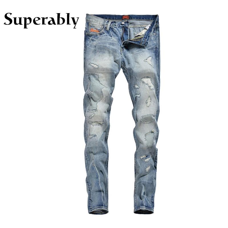 Light Blue Color Denim Fashion Men Jeans European American High Street Modern Destroyed Ripped Jeans Men Frayed Biker JeansÎäåæäà è àêñåññóàðû<br><br>