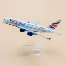 16cm Metal Airplane Model Air British Airways Airbus 380 A380 Airlines Plane Model W Stand Aircraft Gift(China)
