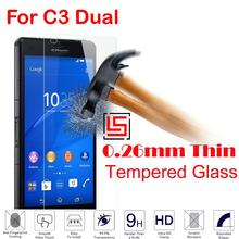 Cheap 0.26mm 2.5D 9H Tempered Glass Cristal Phone Mobile Cell Front Film Screen Protector Guard For Sony Soni Xperia C3 Dual
