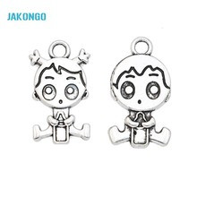 JAKONGO  Antique Silver Plated Boy Girl Charms Pendants for Jewelry Making DIY Handmade Craft Jewelry Compoment 10pcs