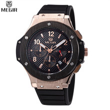MEGIR Chronograph 6 Hands 24 Hours Function Men Sport Watch Silicone Luxury Watch Men Top Brand Military Watch Relogio  /ML3002M