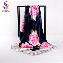 [BYSIFA] Chinese Pink Peony Women Satin Silk Scarf Cape 2017 New Navy Blue Elegant Ladies Neck Head Scarf Spring Autumn Scarves(China)