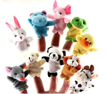 Good Quality 10pcs Cartoon Biological Animal Finger Puppet Plush Toys Child Baby Bed story Dolls