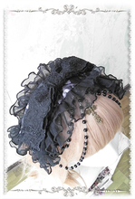 Gothic Lolita Headband Embroidered Floral Lace Hair Accessories with Detachable Chain and Cross by Infanta